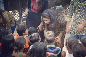 Nupur Bharadwaj, founder of LECIN interacting with the kids